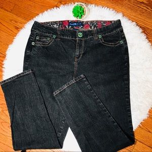 AVENUE STRAIGHT JEANS BLUE W/CONTRAST STITCHES 16